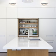 A kitchen interior designed by Anna Welsh MDINZ, ceiling, countertop, floor, furniture, home, interior design, kitchen, product design, room, table, white