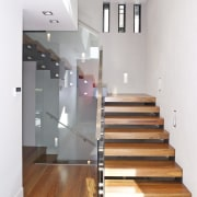 View of th entrance and stairwell. - View ceiling, daylighting, floor, flooring, glass, handrail, hardwood, interior design, laminate flooring, stairs, wall, wood, wood flooring, white