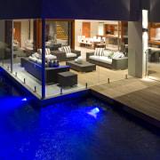 View of outdoor living area. - View of floor, flooring, home, interior design, lighting, blue