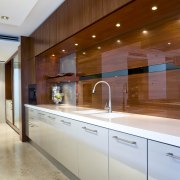 View of kitchen featuring painted teak cabinetry, Caroma cabinetry, ceiling, countertop, interior design, kitchen, real estate, under cabinet lighting, gray, brown