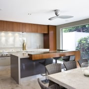 View of teak cabinetry, stone benchtops, lighting city countertop, interior design, kitchen, real estate, white