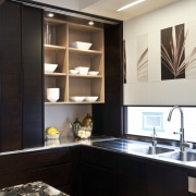 So this area looks good even when the bathroom, cabinetry, countertop, interior design, kitchen, room, sink, black, gray