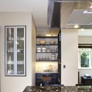 So this area looks good even when the ceiling, countertop, floor, flooring, interior design, kitchen, gray