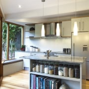 A new layout ensures views take priority.Mood lighting cabinetry, countertop, cuisine classique, interior design, kitchen, room, white