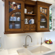 View of sink, hand crafted cabinets and granite bathroom, bathroom accessory, bathroom cabinet, cabinetry, countertop, home, interior design, kitchen, room, shelf, sink, white, brown