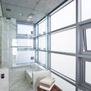 view of shower featuring aluminum window joinery, - architecture, bathroom, daylighting, interior design, room, window, gray, white