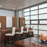 View of the kitchen featuring vertical grain walnut ceiling, interior design, real estate, restaurant, gray, brown