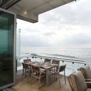 View of deck featuring outdoor living furniture, and apartment, house, interior design, table, white, gray