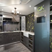 This display kitchen for Quality Kitchens showcases aluminium-framed countertop, interior design, kitchen, room, black, gray