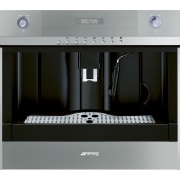 Designed by Hacker Kitchens, this kitchen features appliances coffeemaker, espresso machine, home appliance, kitchen appliance, product, product design, small appliance, gray, black