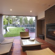 View of outdoor living space by Nathan Burkett architecture, estate, fireplace, hearth, home, house, interior design, living room, property, real estate, window