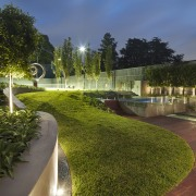 View of outdoor living space by Nathan Burkett architecture, estate, garden, grass, home, landscape, landscaping, lawn, lighting, plant, real estate, residential area, tree, walkway, water, brown