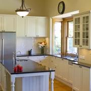 Details such as the round sink and traditionally cabinetry, countertop, cuisine classique, home, interior design, kitchen, real estate, room, window, gray, brown