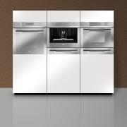 Designed by Hacker Kitchens, this kitchen features appliances home appliance, kitchen, kitchen appliance, kitchen stove, major appliance, product, product design, gray, white