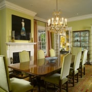 Interior view of the dining room & the ceiling, dining room, estate, furniture, home, interior design, living room, real estate, room, table, window, brown