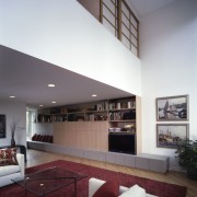 Contemporary living area viewing the furniture - Contemporary architecture, ceiling, daylighting, estate, house, interior design, living room, real estate, gray, white
