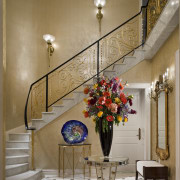View of this luxury stairway & accessories - ceiling, dining room, floristry, flower, flower arranging, home, interior design, living room, lobby, room, table, wall, brown, gray