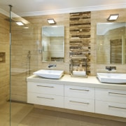 Natural bathroom features the open shower & large bathroom, cabinetry, floor, home, interior design, room, brown, gray