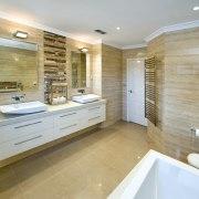 Entrance way to this natural bathroom - Entrance bathroom, floor, flooring, home, interior design, real estate, room, tile, gray, brown