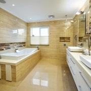 Overview of this natural colour bathroom - Overview bathroom, estate, floor, flooring, interior design, real estate, room, tile, orange
