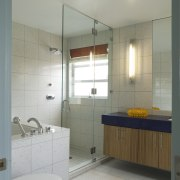 View of this traditional house - View of bathroom, bathroom accessory, bathroom cabinet, floor, interior design, plumbing fixture, room, sink, tile, gray