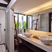Shower & sinks within the contemporary bathroom bathroom, estate, interior design, property, real estate, room, gray
