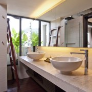 Close up view of the bathroom sinks & architecture, bathroom, interior design, real estate, room, sink, gray