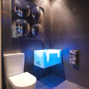 View of a themed bathroom with feature wall bathroom, blue, ceiling, interior design, lighting, room