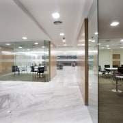 White marble was introduced for the flooring to ceiling, floor, flooring, interior design, lobby, real estate, gray