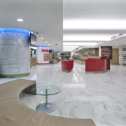 White marble was introduced for the flooring to floor, interior design, leisure centre, lobby, gray