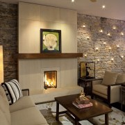 View of lounge and dining area after renovations ceiling, fireplace, hearth, home, interior design, living room, lobby, real estate, room, brown