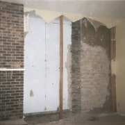 View of living area with fireplace prior to plaster, property, wall, gray, brown