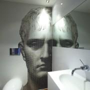 Powder room with modern bathroomware & classical face art, bathroom, design, facial hair, interior design, plumbing fixture, room, gray