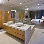 View of contemporary bathroom with mirror wall, white bathroom, countertop, floor, interior design, room, sink, gray