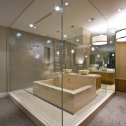 View of contemporary bathroom with mirror wall, white architecture, ceiling, floor, glass, interior design, brown, gray