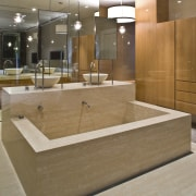 View of contemporary bathroom with mirror wall, white architecture, bathroom, countertop, floor, flooring, interior design, lobby, sink, wood, brown, gray