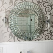 View of bathroom in a 1930s bungalow designed interior design, tile, wall, gray