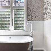 View of bathroom in a 1930s bungalow designed bathroom, bathroom accessory, ceramic, floor, flooring, interior design, plumbing fixture, product, product design, room, tap, tile, wall, window, white, gray