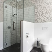 View of bathroom in a 1930s bungalow designed architecture, bathroom, ceiling, floor, glass, interior design, plumbing fixture, product design, room, tap, tile, wall, white, gray
