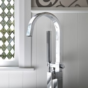 View of bathroom in a 1930s bungalow designed interior design, plumbing fixture, product, product design, structure, tap, white, gray