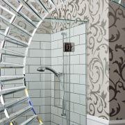 View of bathroom in a 1930s bungalow designed architecture, daylighting, glass, handrail, iron, line, stairs, structure, wall, gray