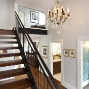 View of the Stairway with chandelier - View baluster, ceiling, dining room, estate, floor, flooring, handrail, hardwood, home, house, interior design, real estate, room, stairs, wall, wood, wood flooring, gray