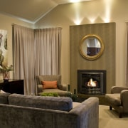 Lounge room with Fireplace, furniture & curtains ceiling, home, interior design, living room, room, suite, wall, window treatment, brown, orange