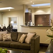 Various living areas with furniture & dining table ceiling, home, interior design, living room, lobby, room, brown, orange