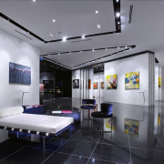 Interior view of the Art Gallery by Designworx, exhibition, interior design, gray, black
