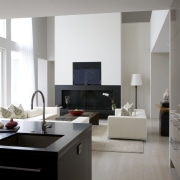 View of the lounge from the kitchen - floor, furniture, interior design, interior designer, living room, room, white, gray