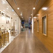 View of the hallway - View of the ceiling, floor, flooring, interior design, lobby, wood, orange, brown