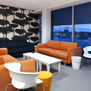 Contemporary lounge with nice views & bold colours architecture, furniture, interior design, living room, gray