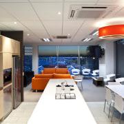 Kitchen area with sleek interior design - Kitchen ceiling, interior design, white