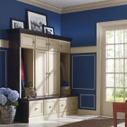 View of a bedroom which features cabinetry from cabinetry, door, furniture, home, interior design, living room, room, window, gray, blue